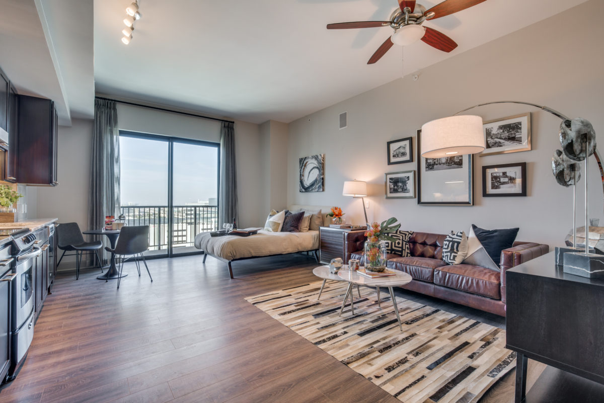 Studio layout at The McCarthy Apartments in Memorial City Houston