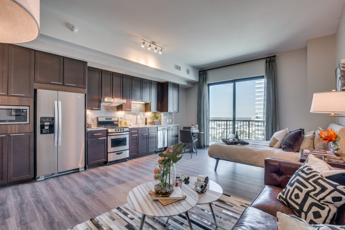 Living Room Layout at The McCarthy Apartments in Memorial City Houston