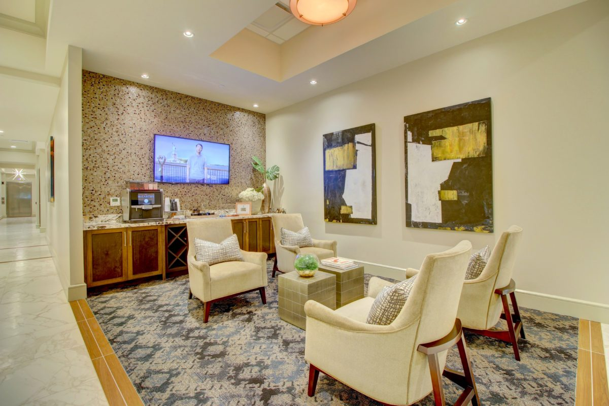 Resident lounge and coffee bar at The McCarthy Houston