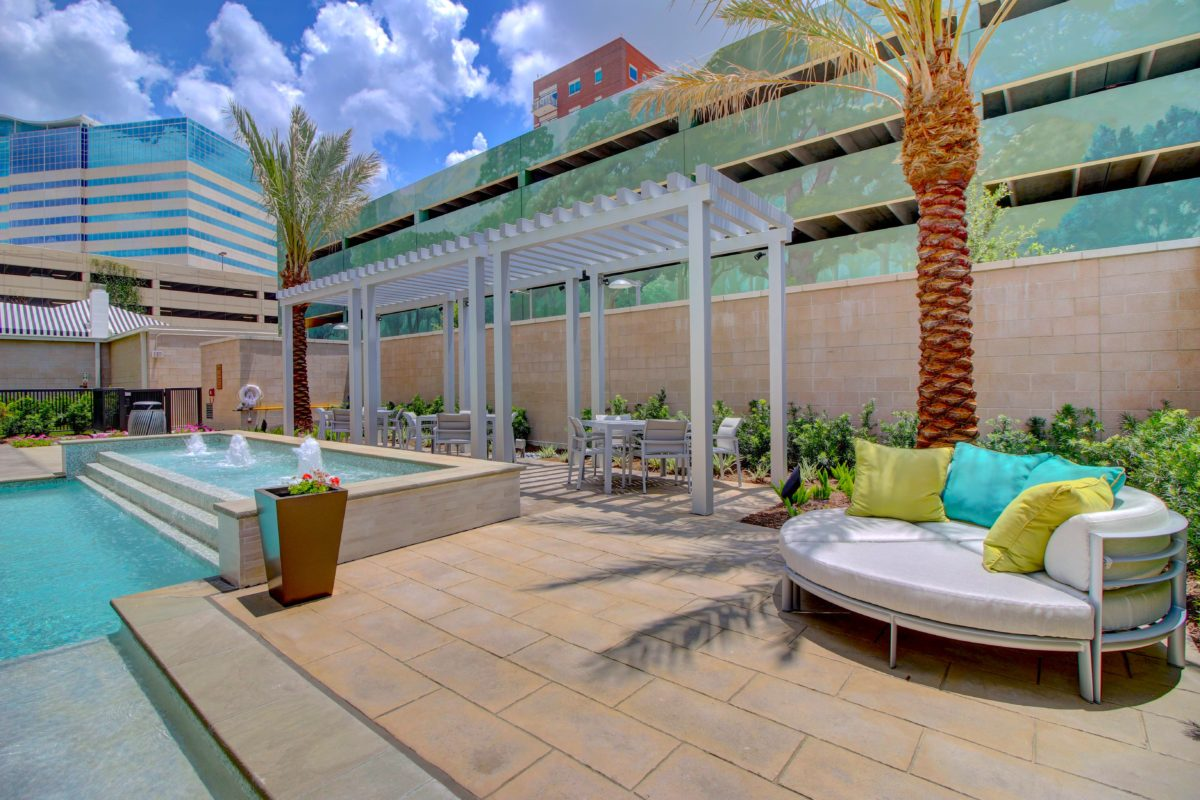 Outdoor lounge area at The McCarthy Houston